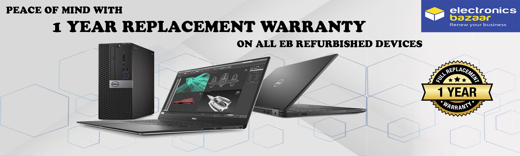 Refurbsihed laptops & desktop computer pc with 1 year replacement warranty