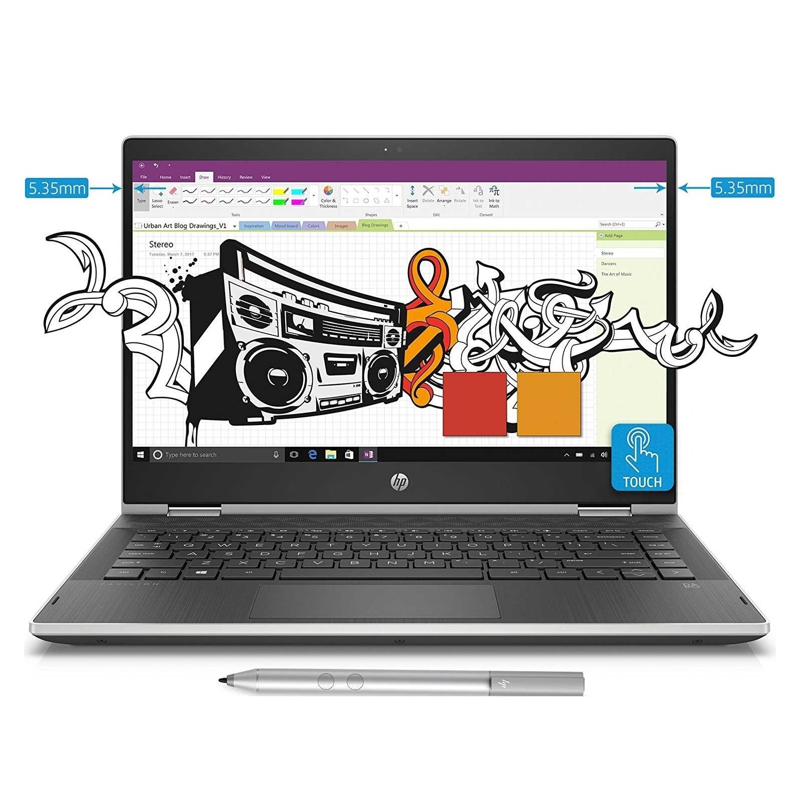 Refurbished laptops & desktops - HP Pav X360  Convert Refurbished 14-Cd0077Tu In Intel Core I3 8TH Gen 14-Inch Touchscreen 2-In-1 FHD THin And Light Laptop (4GB/1TB+8GB SSHD/Windows 10 Home/Natural Silver/1.59 Kg)