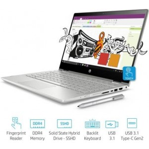 Refurbished laptops & desktops HP Pav X360  Convert Refurbished  14-Cd0050Tx In Convertible(8TH Gen I3-8130U/4GB Ddr4/1TB+8GB SSHD/Nvidia 2GB Graphics/Win 10/FP Reader) Natural Silver