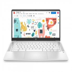 Refurbished laptops & desktops HP Chromebook 14a-na0002TU 14-inch Laptop (Celeron N4020/4GB/64GB SSD/Chrome OS/Integrated Graphics), Ceremic White